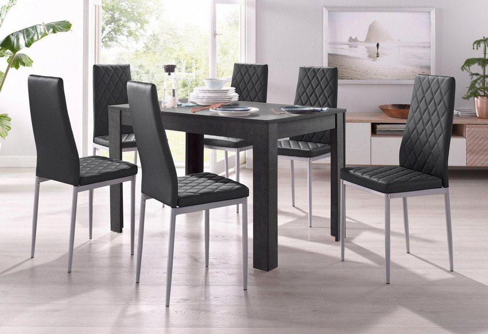 Essgruppe 4 Stühle Mit Tisch In Schieferfarben Breite 120 Cm 5