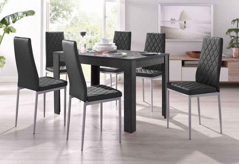 my home Essgruppe »Lynn + Brooke«, (Set, 5-tlg), 4 Stühle mit Tisch in schieferfarben, Breite 120 cm