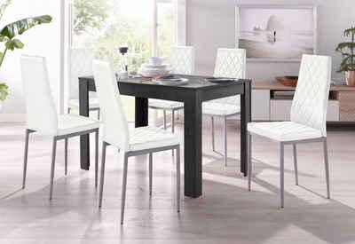 Essgruppe, 4 Stühle Mit Tisch In Schieferfarben, Breite 120 Cm (5 Tlg