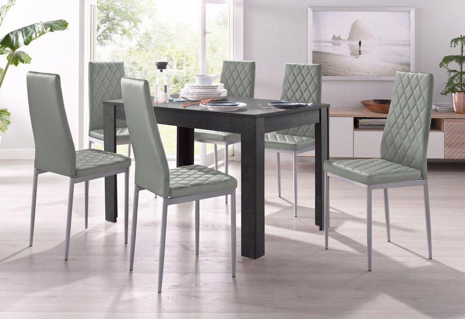 Essgruppe, 4 Stühle mit Tisch in schieferfarben, Breite 120 cm (5 ...