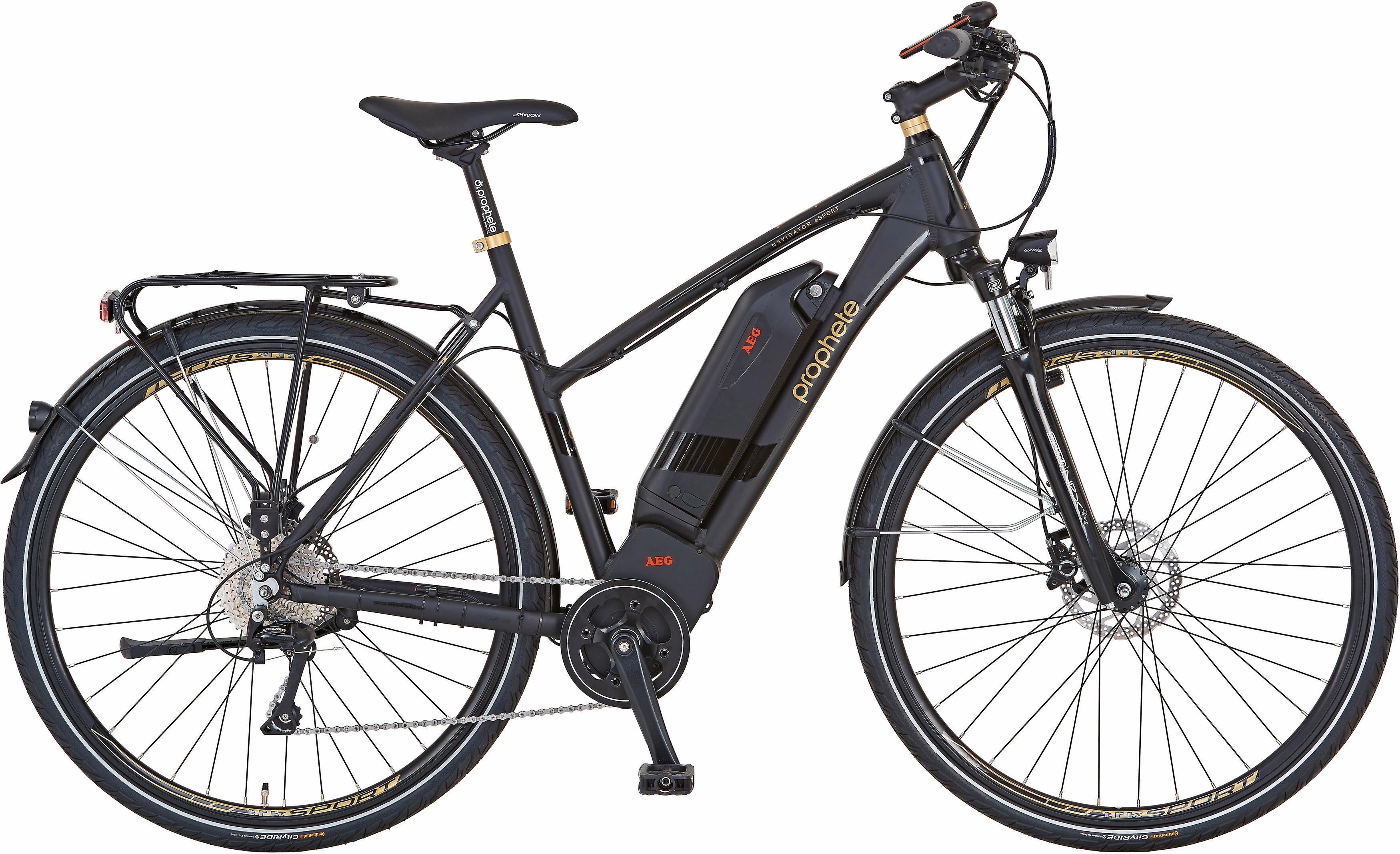 Prophete Damen E-Bike Trekking, 28 Zoll, 10 Gang Shimano Deore, Mittelmotor, 240 Watt, »AEG Navigator eSport«