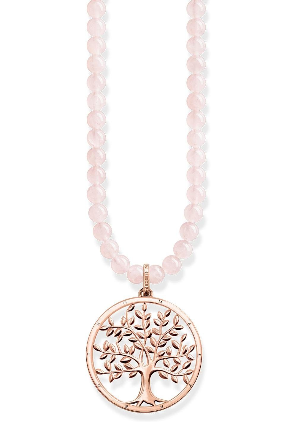THOMAS SABO Kette mit Anhänger »Power Necklace Tree of Love Rosa, KE1662-536-9-L60«, mit Rosenquarz
