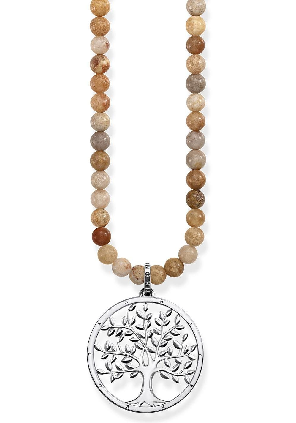 THOMAS SABO Kette mit Anhänger »Power Necklace Tree of Love Beige, KE1661-014-19-L60«, mit Jaspis