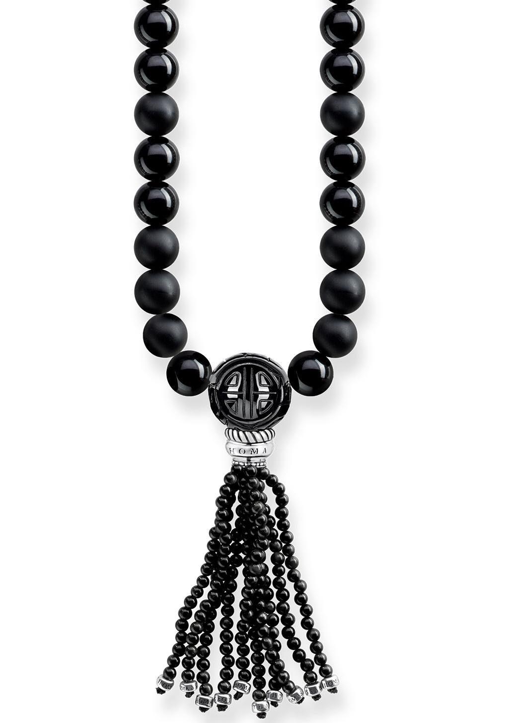 THOMAS SABO Kette mit Anhänger »Power Necklace Schwarz, KE1676-704-11-L90« mit Obsidian