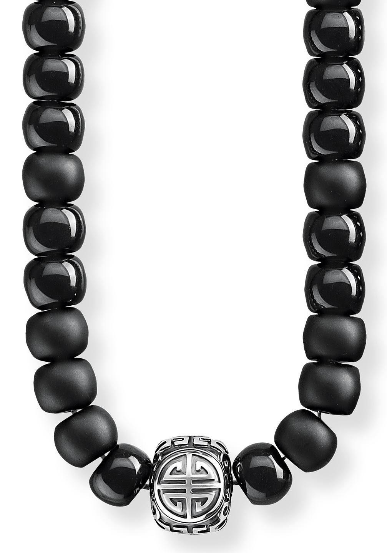 THOMAS SABO Kette mit Anhänger »Power Necklace Ethno Schwarz, KE1710-704-11-L80« mit Obsidian