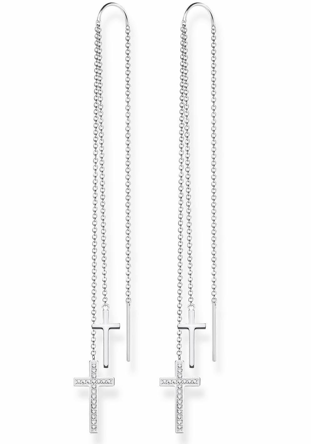 THOMAS SABO Paar Ohrhänger »Kreuze, H1950-051-14« mit Zirkonia