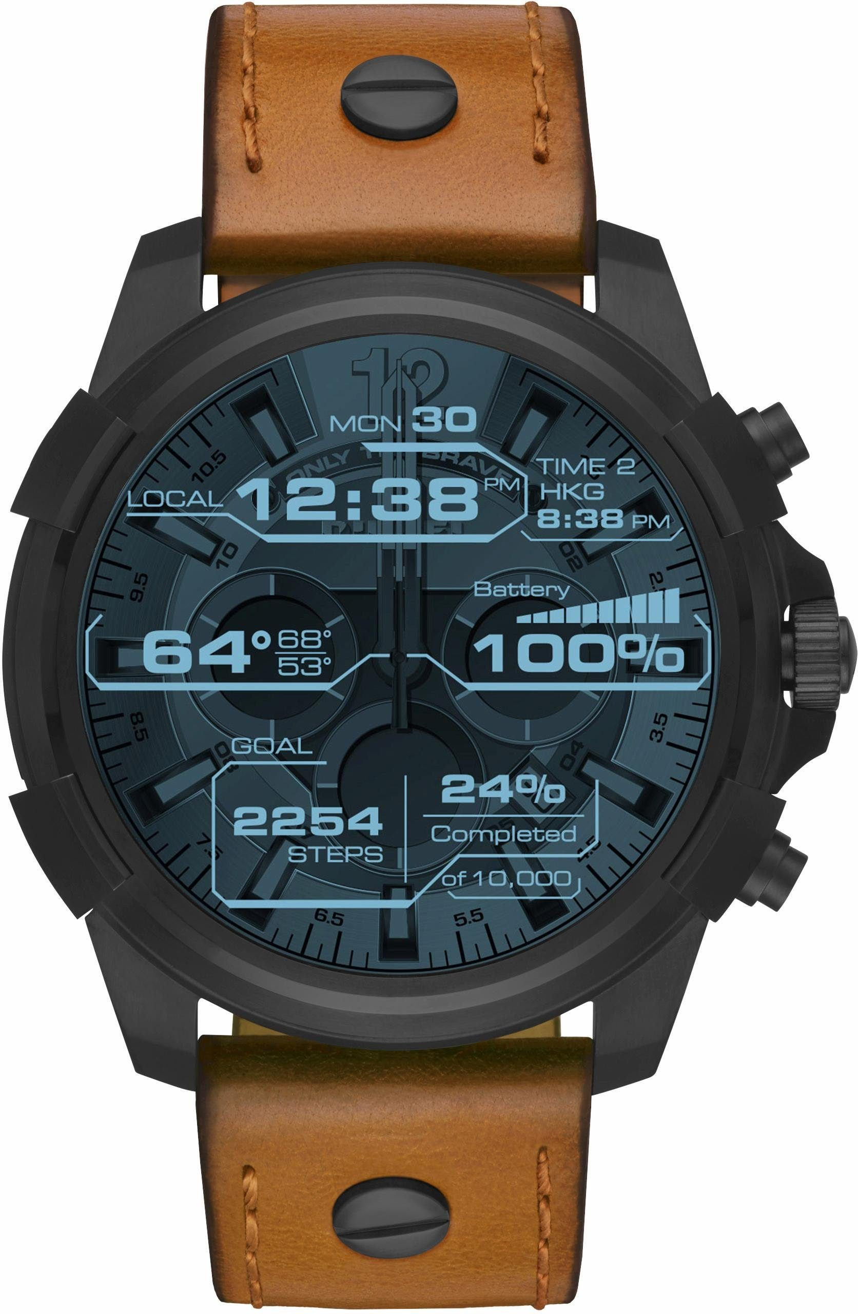 DIESEL ON FULL GUARD, DZT2002 Smartwatch (Android Wear, mit individuell einstellbarem Zifferblatt)