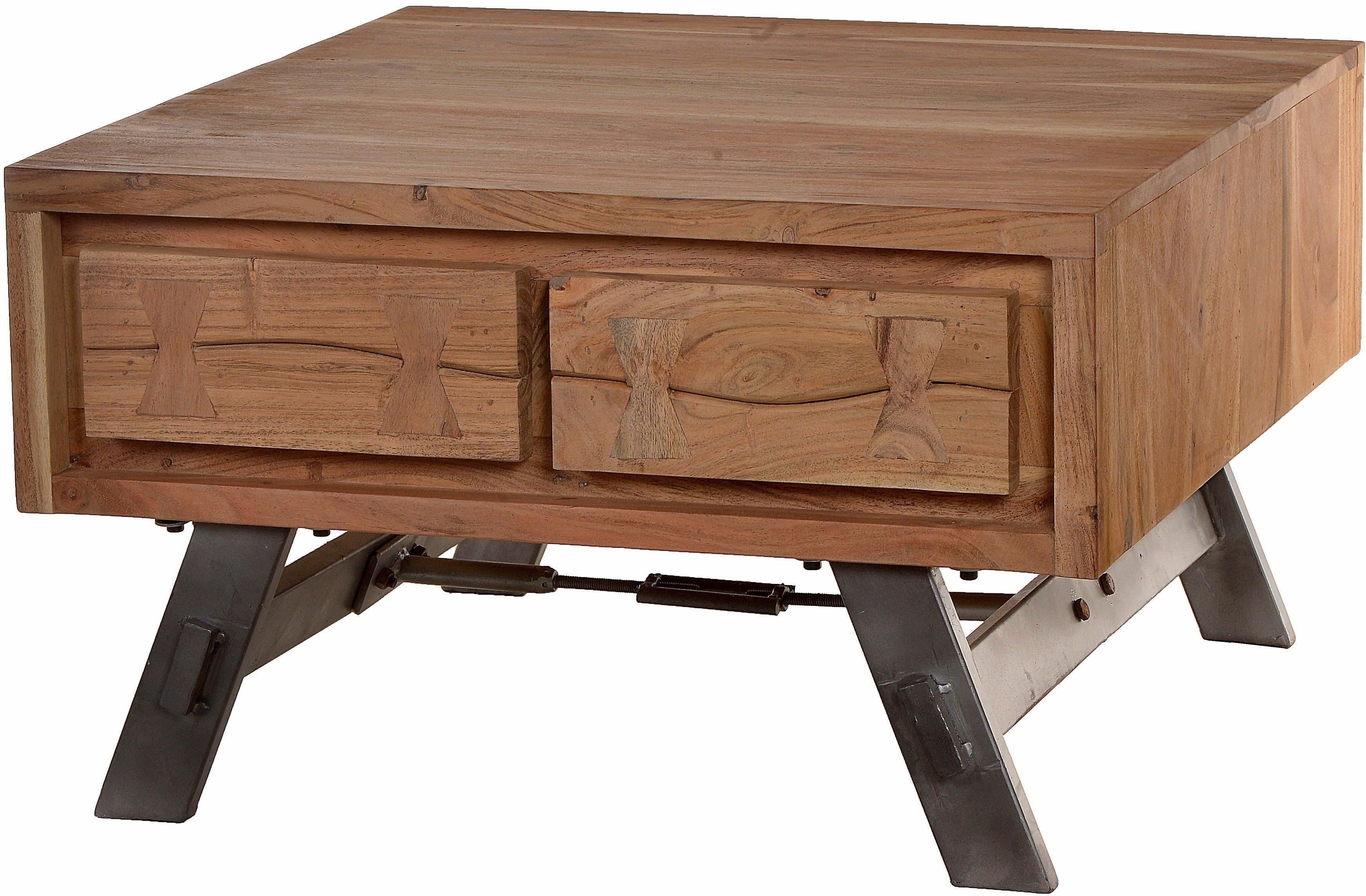 SIT Couchtisch »Edge«, aus Akazienholz mit Metalluntergestell, mit 4 Schubladen, Breite 70 cm