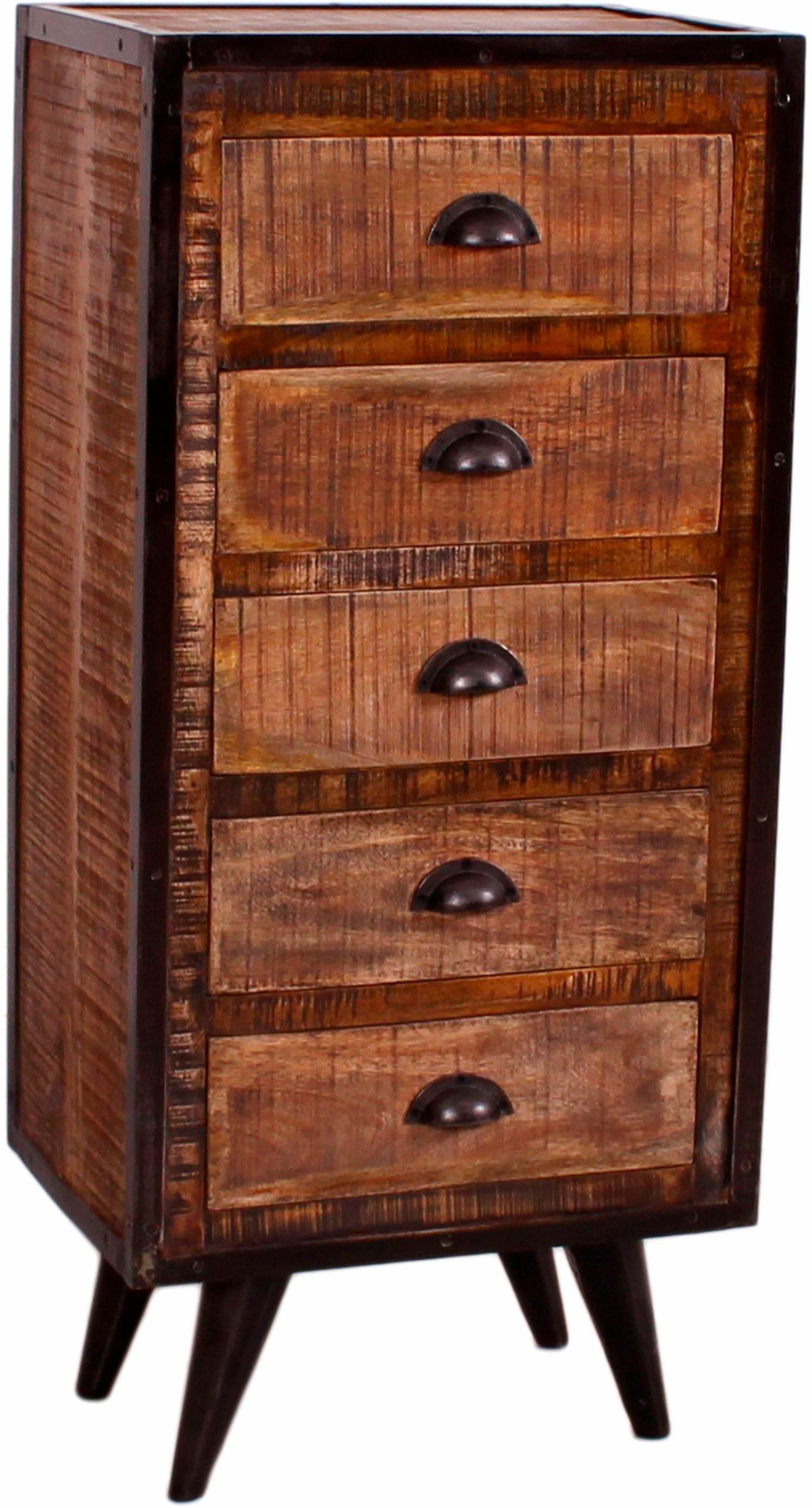 SIT Kommode »Iron«, aus Mangoholz und Schmiedeeisen, mit 5 Schubladen Höhe 110 cm