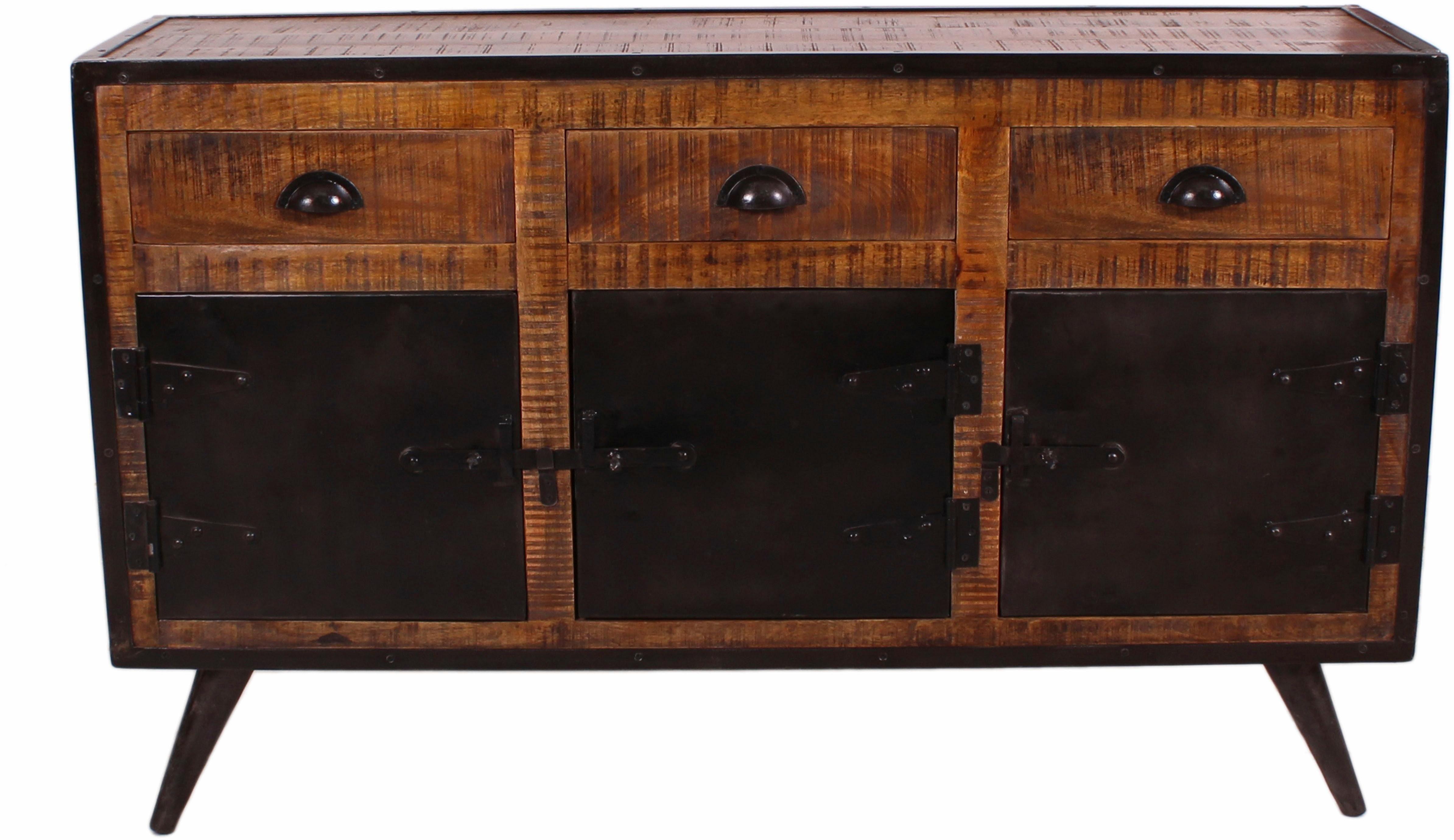 SIT Sideboard »Iron«, Mangoholz mit Schmiedeeisen, mit 3 Türen und 3 Schubalden, Breite 140 cm