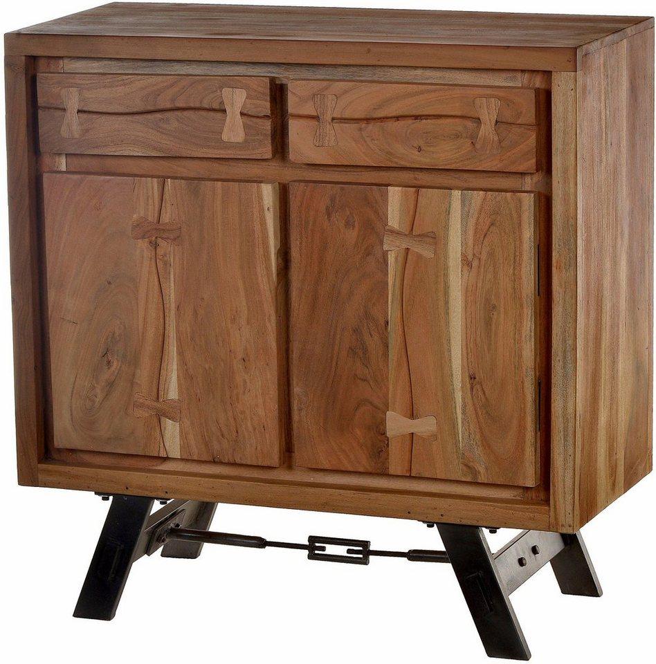 sit kommode edge aus akazienholz mit metalluntergestell mit 2 t ren und 2 schubladen breite