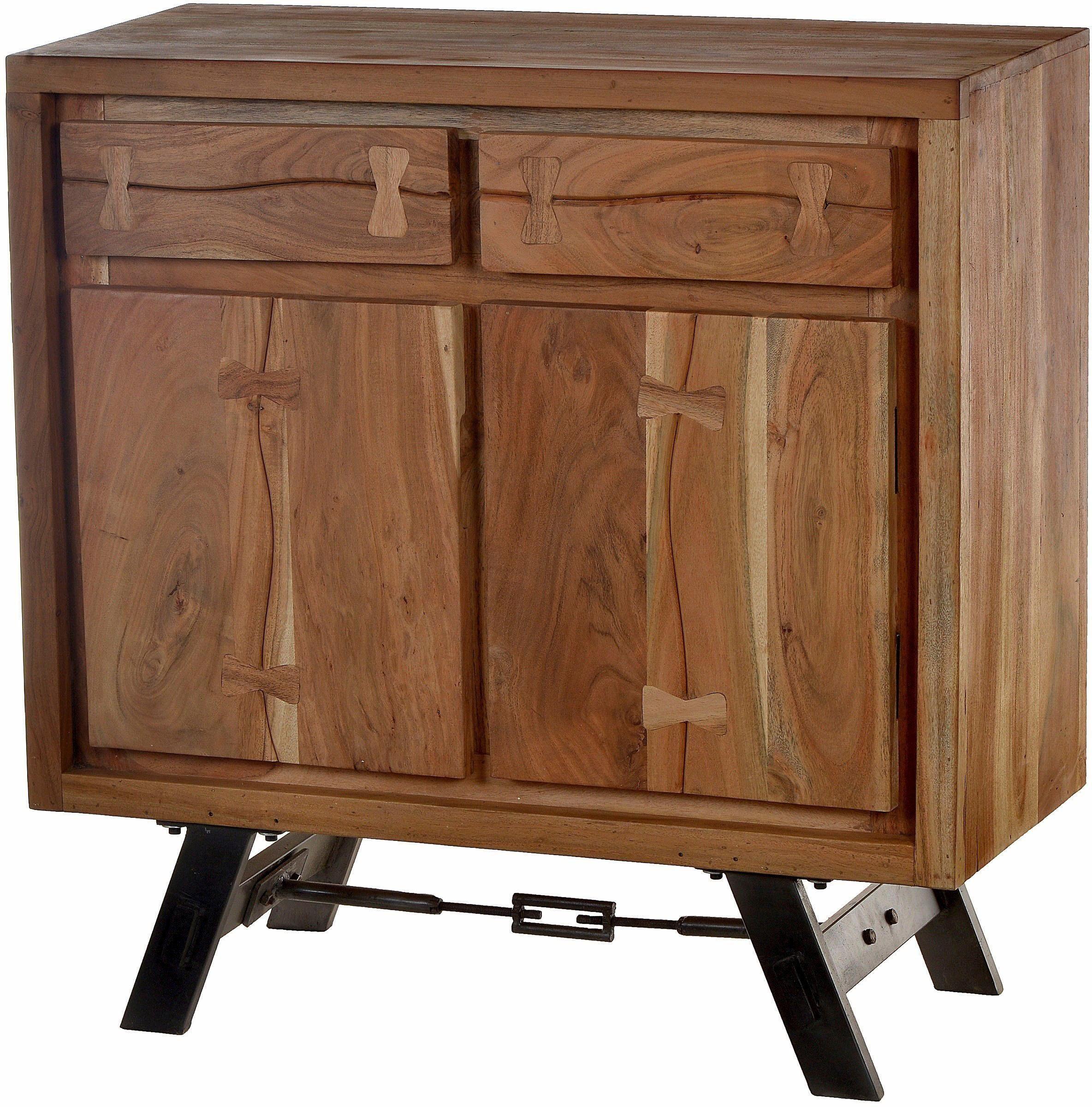 SIT Kommode »Edge«, aus Akazienholz mit Metalluntergestell, mit 2 Türen und 2 Schubladen, Breite 90 cm