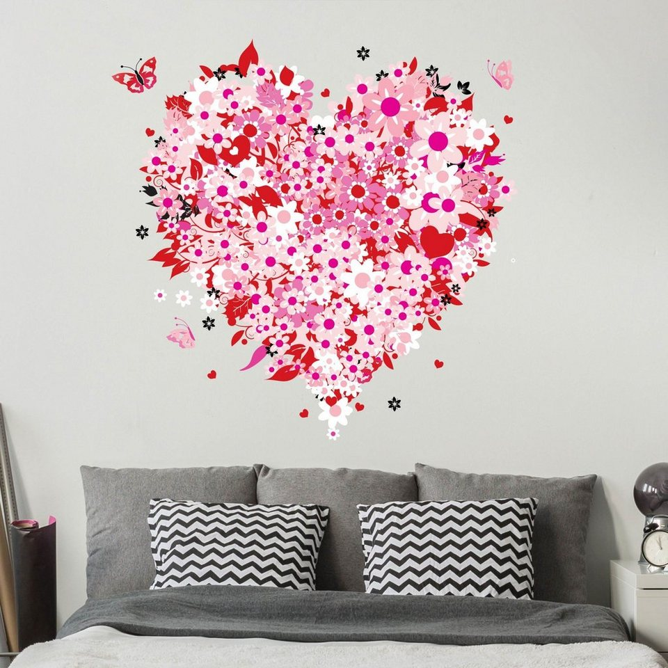 bilderwelten wandtattoo floral retro heart online kaufen otto. Black Bedroom Furniture Sets. Home Design Ideas