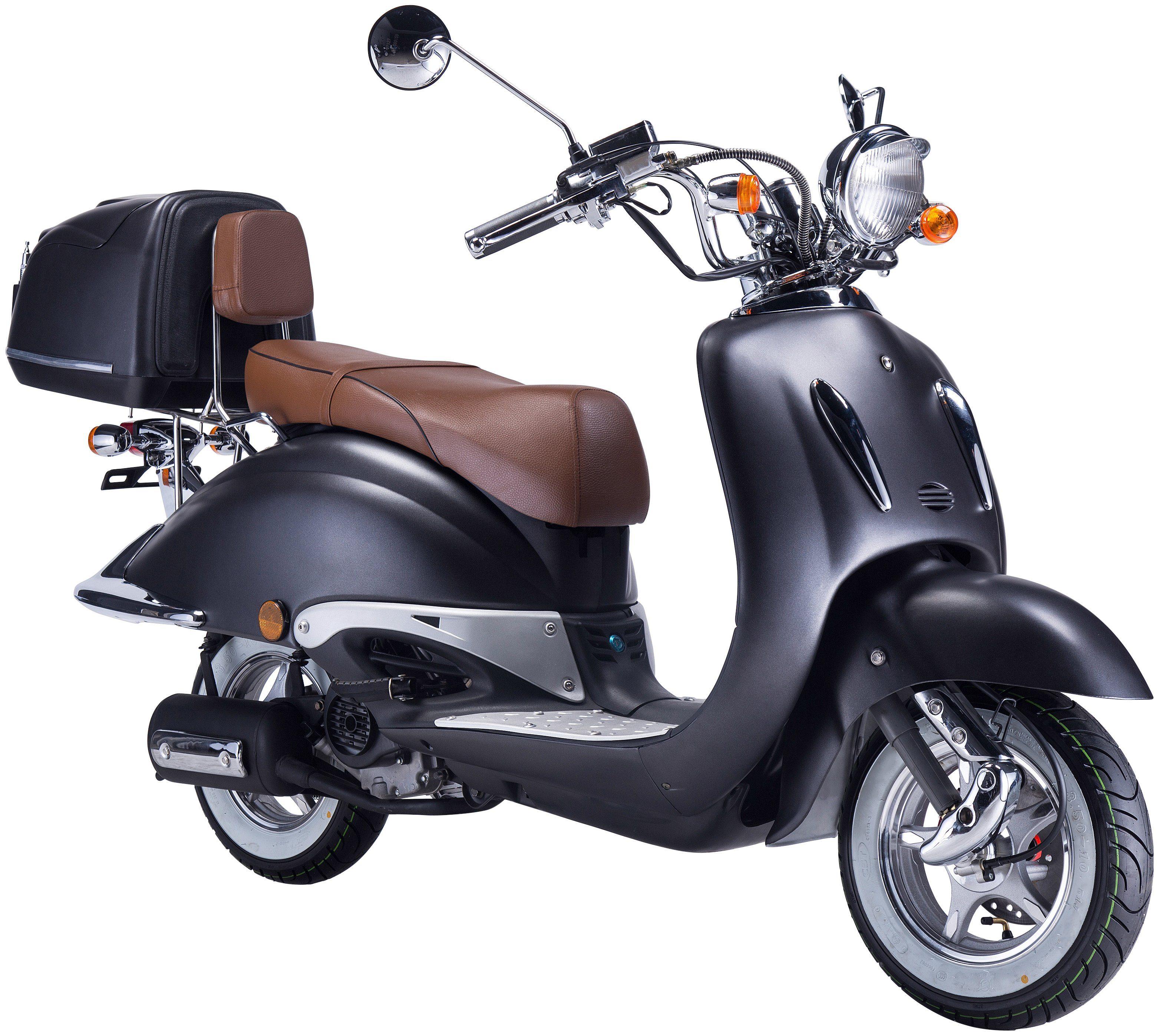 GT UNION Motorroller »Strada«, 50 ccm, mattschwarz-braun