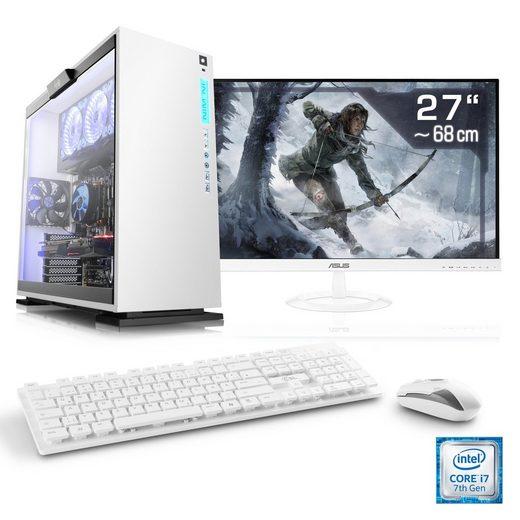 "CSL Gaming PC Set, i7-7700, GeForce GTX 1070, 16 GB RAM, 27"" TFT »Speed T9566 Windows 10 Home«"