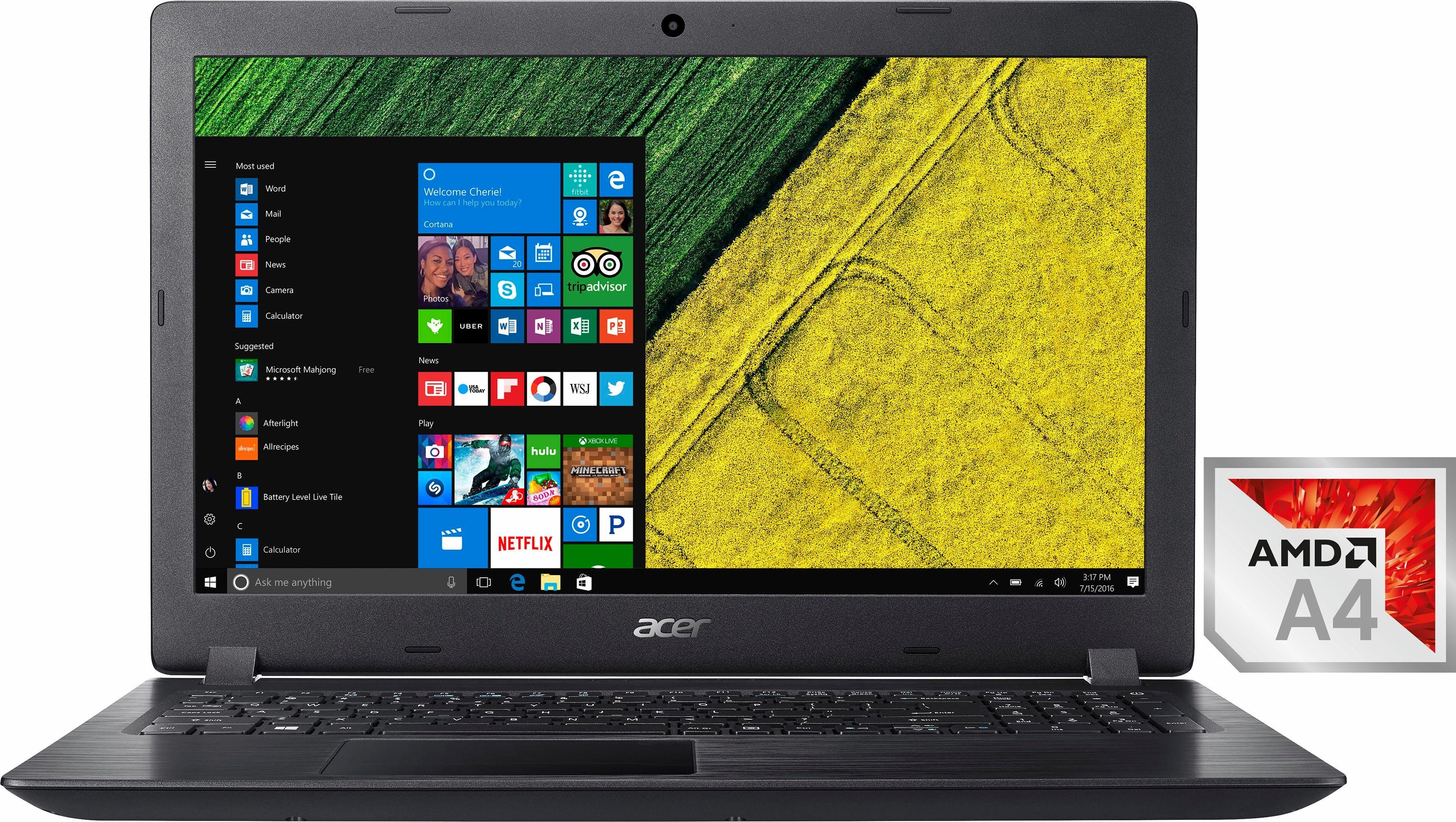 Acer Aspire 3 Netbook (39,6 cm/15,6 Zoll, AMD, R3, 500 GB HDD, Multi-Gesture Touchpad (Microsoft Precision Touchpad Certification)