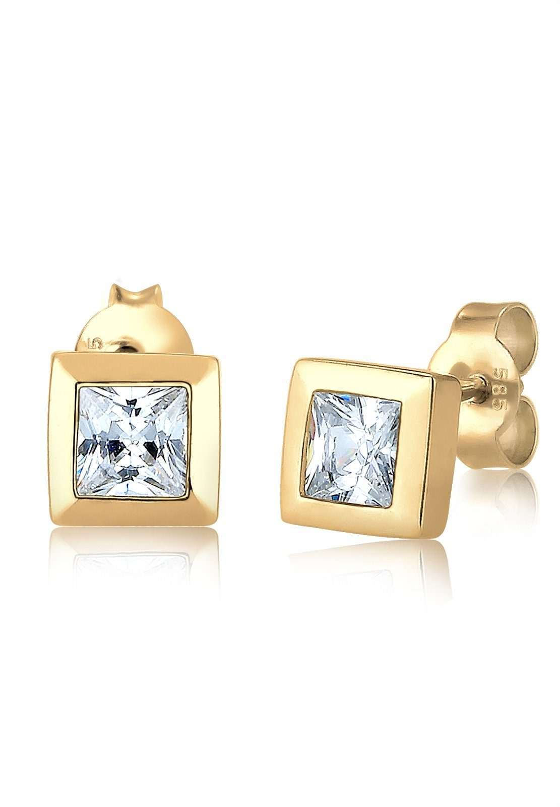 Elli Ohrringe »Viereck Quadrat Zirkonia 585 Gelbgold«