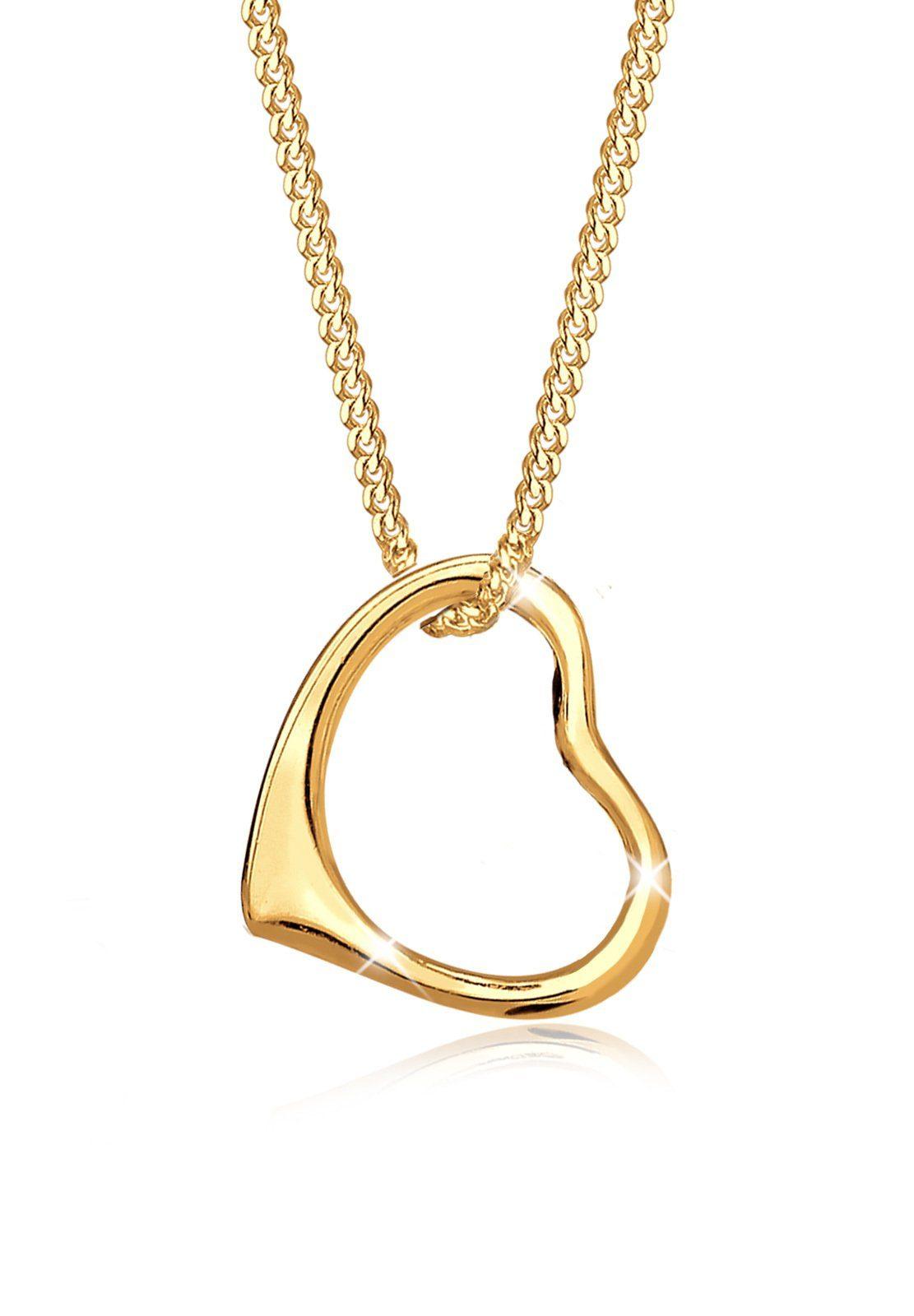 Elli Halskette »Herz Liebe Klassisch Hochwertig 585 Gelbgold«