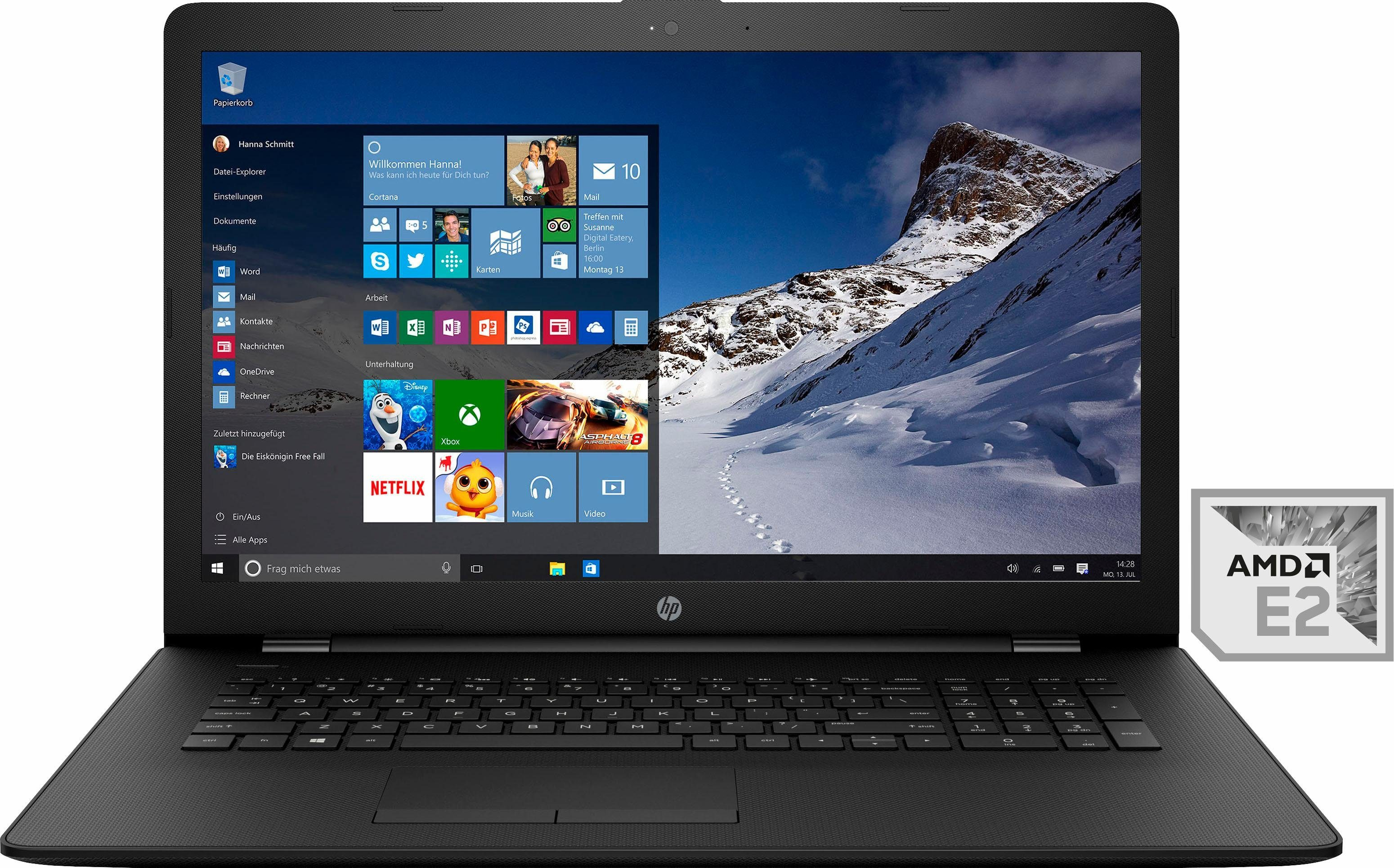 HP 17-ak060ng Notebook, AMD Dual Core E-2, 43,9 cm (17,3 Zoll), 1000 GB Speicher, 4096 MB DDR4-SDRAM