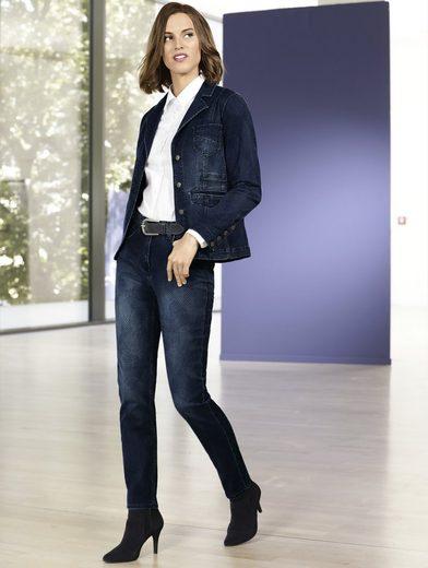 Mona Jeans mit grafischem Jacquard