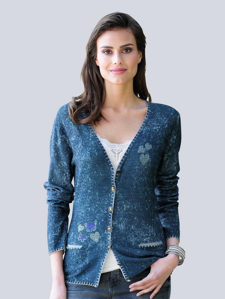 Damen Alba Moda Strickjacke im Reverseprint blau | 04055715509740