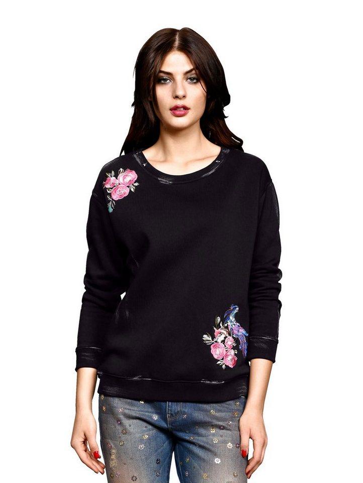 Damen Alba Moda  Sweatshirt mit besonderen Wasch-Effekten schwarz | 04055715514195