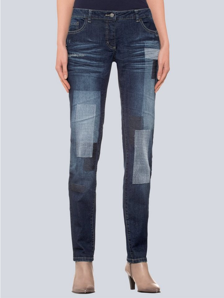 Damen Alba Moda Jeans mit Patches blau | 04055715507197