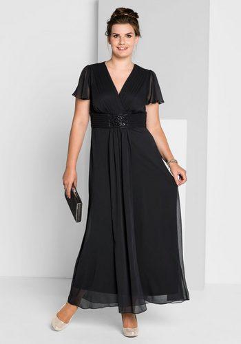 Damen sheego Style Abendkleid in Wickeloptik schwarz | 04054697976212