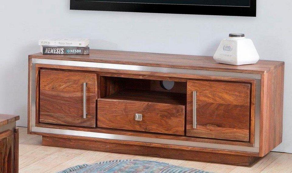 the wood times tv lowboard sheva mit 2 holzt ren und 1 schublade breite 118 cm online. Black Bedroom Furniture Sets. Home Design Ideas