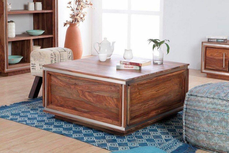 the wood times truhen couchtisch sheva mit 2 aufstellbaren klappen breite 88 cm online. Black Bedroom Furniture Sets. Home Design Ideas