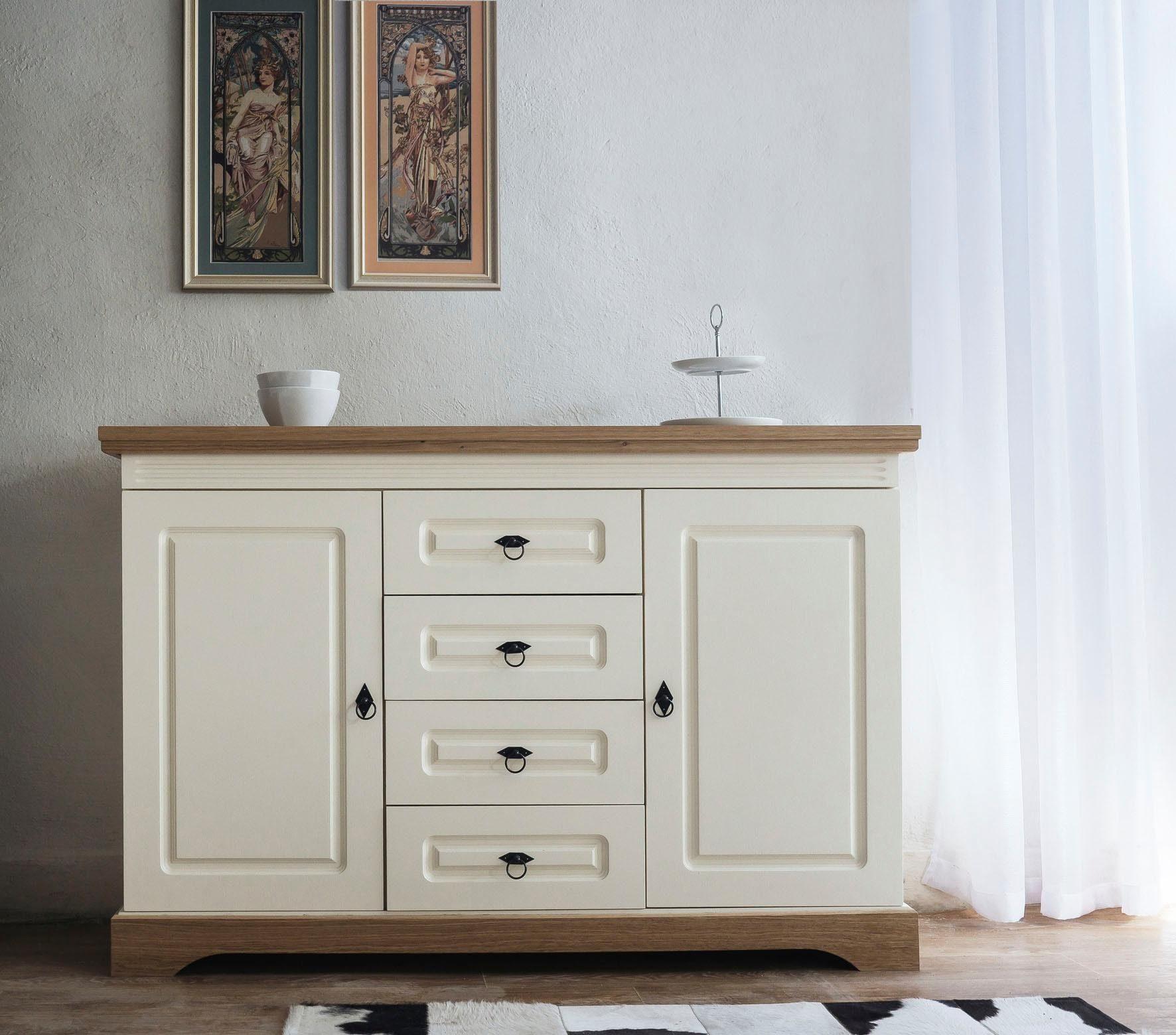 Home affaire Sideboard »Provence« mit 2 Türen und 4 Schubladen, Breite 137 cm