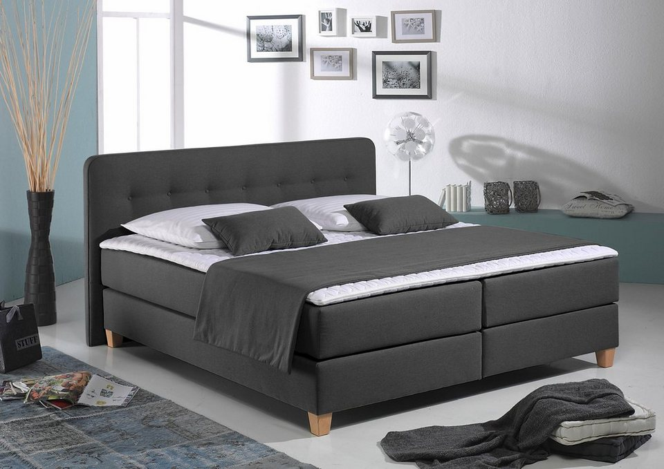 home affaire boxspringbett fargo xxl in berl nge 220 cm. Black Bedroom Furniture Sets. Home Design Ideas