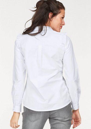 Aniston Hemdbluse, mit Rüschen verziert