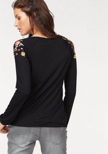 Aniston Langarmshirt, mit buntem Flockprint