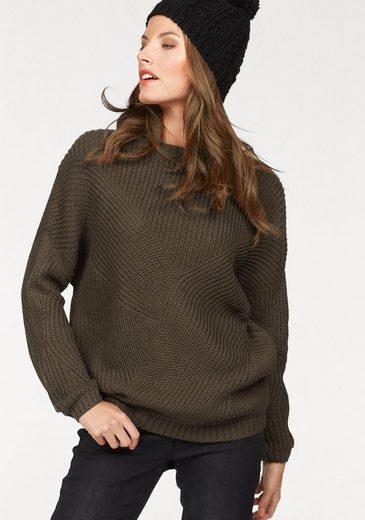 Aniston Rundhalspullover, im trendigen Strickmuster