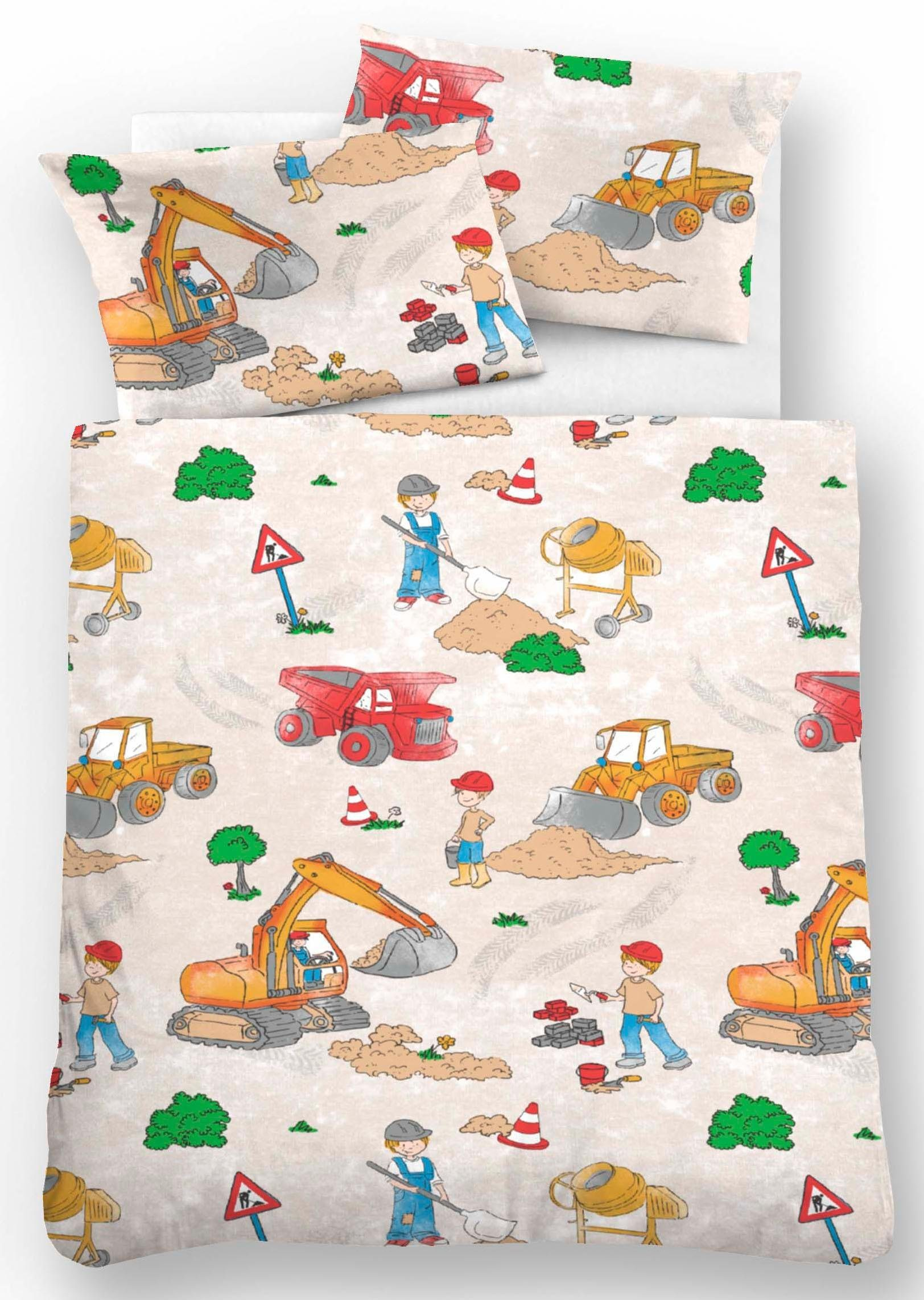 Kinderbettwäsche »Bauarbeiter«, Biberna, mit Baggern | Kinderzimmer > Textilien für Kinder > Kinderbettwäsche | Biberna