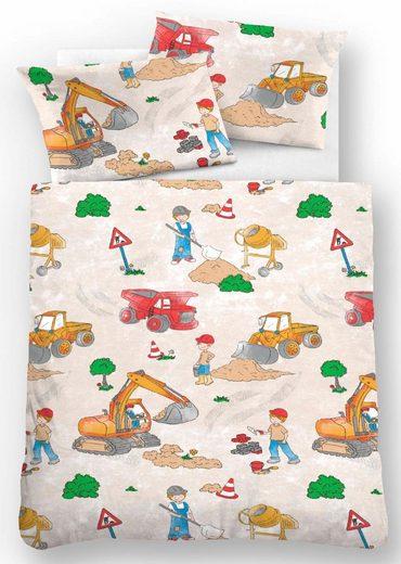 Kinderbettwäsche »Bauarbeiter«, Biberna, mit Baggern