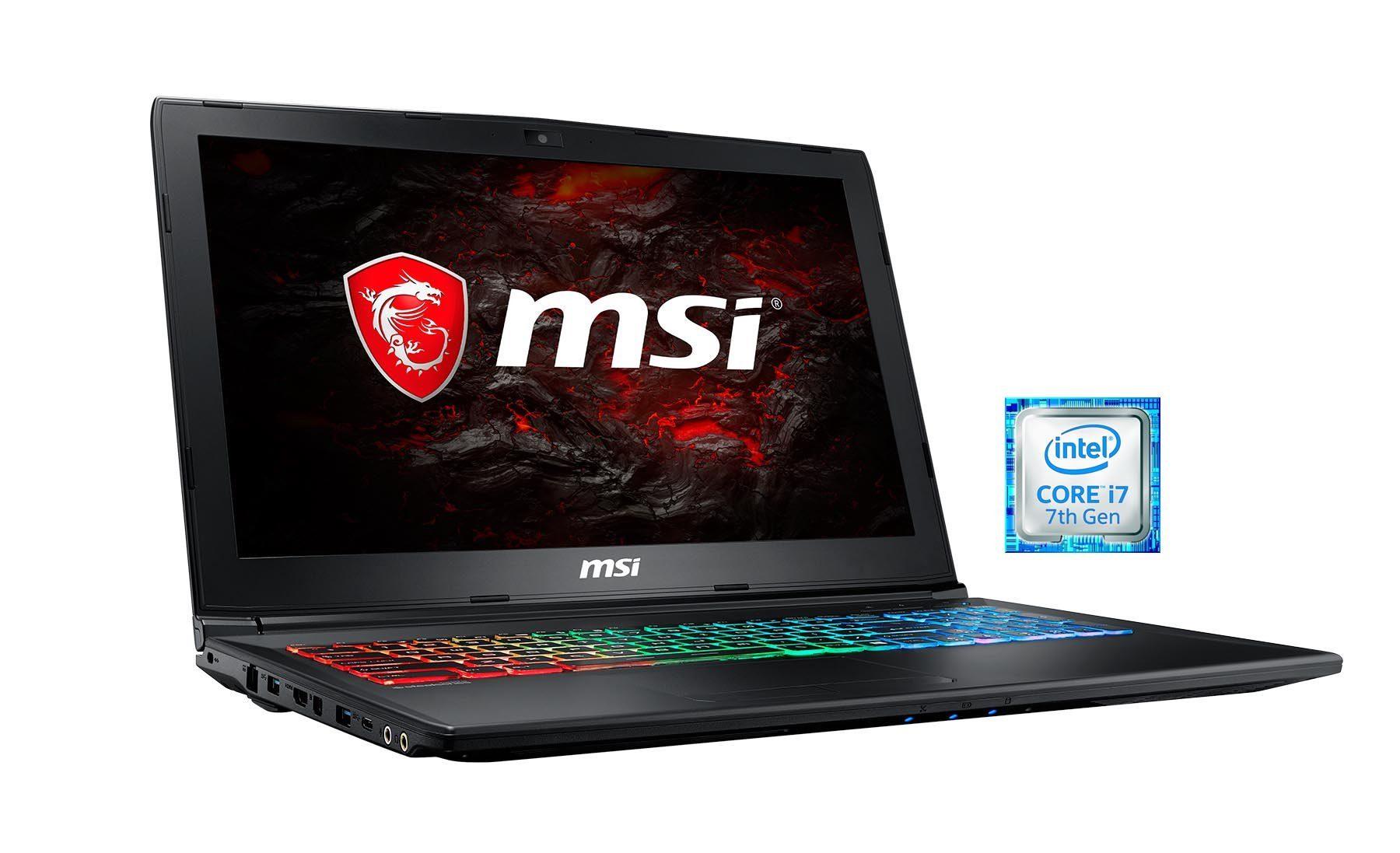 """MSI 15,6"""", Intel® i7-7700HQ, 16GB, SSD, HDD, GeForce® GTX 1060 »GP62MVR 7RFX-852DE (0016JB-852)«"""
