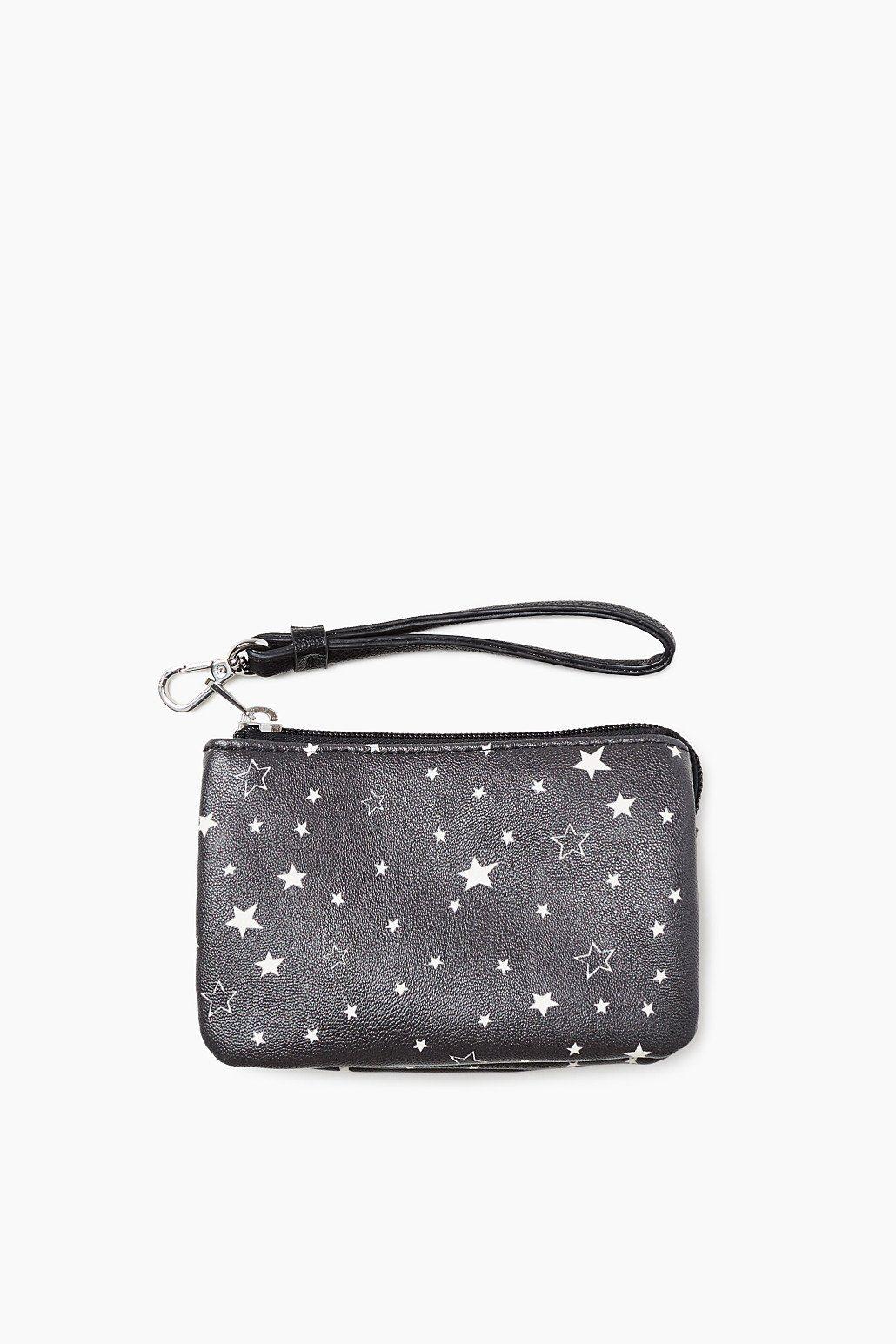 ESPRIT CASUAL Kleine Zipper-Tasche mit Allover-Stern-Print