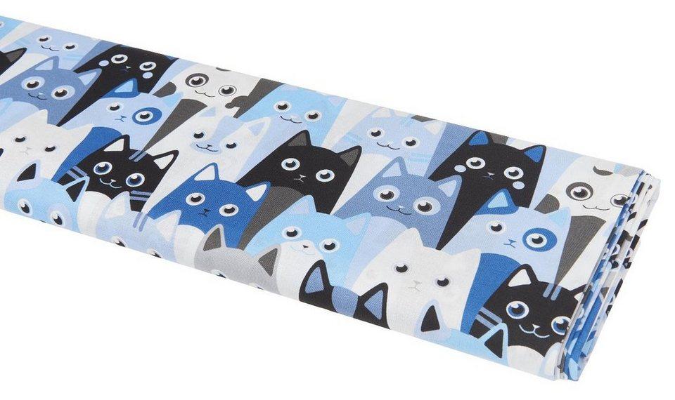 """Baumwoll-Stoff """"Cool Cats-Blau"""" 140 cm breit (Meterware) online kaufen"""