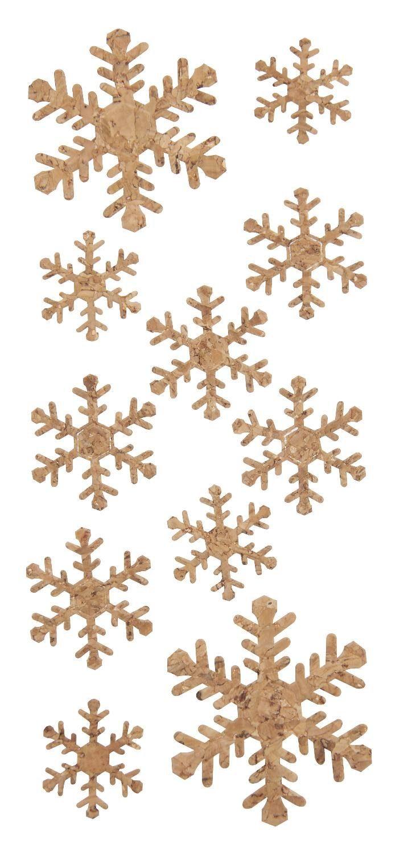 """VBS Kork-Sticker """"Schneeflocken"""", selbstklebend, 11 Stück"""