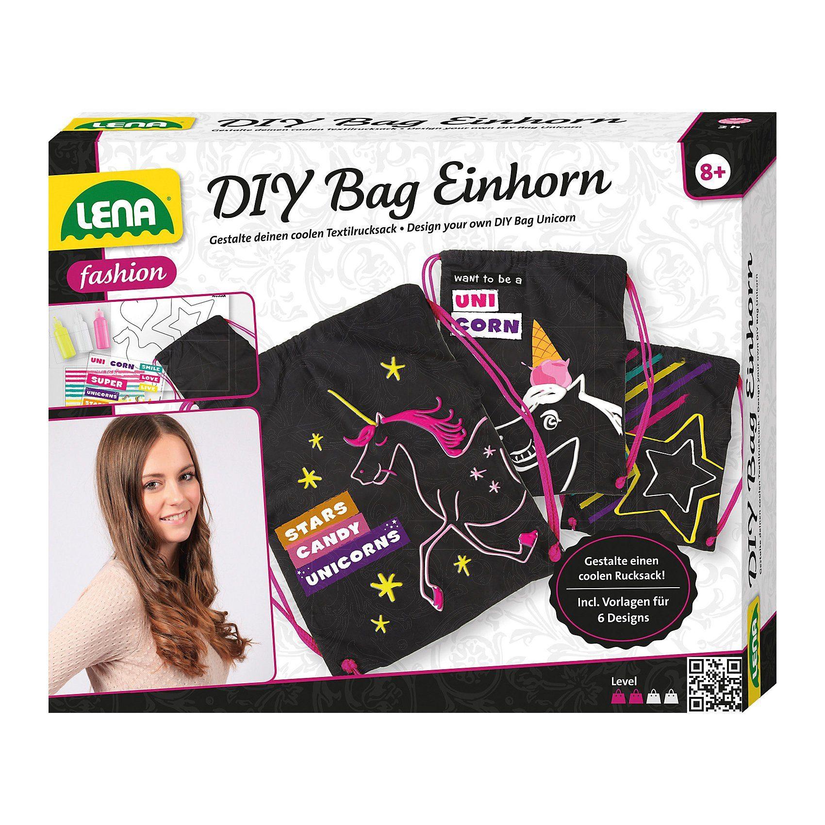 Lena® DIY Bag Leinen-Rucksack Einhorn