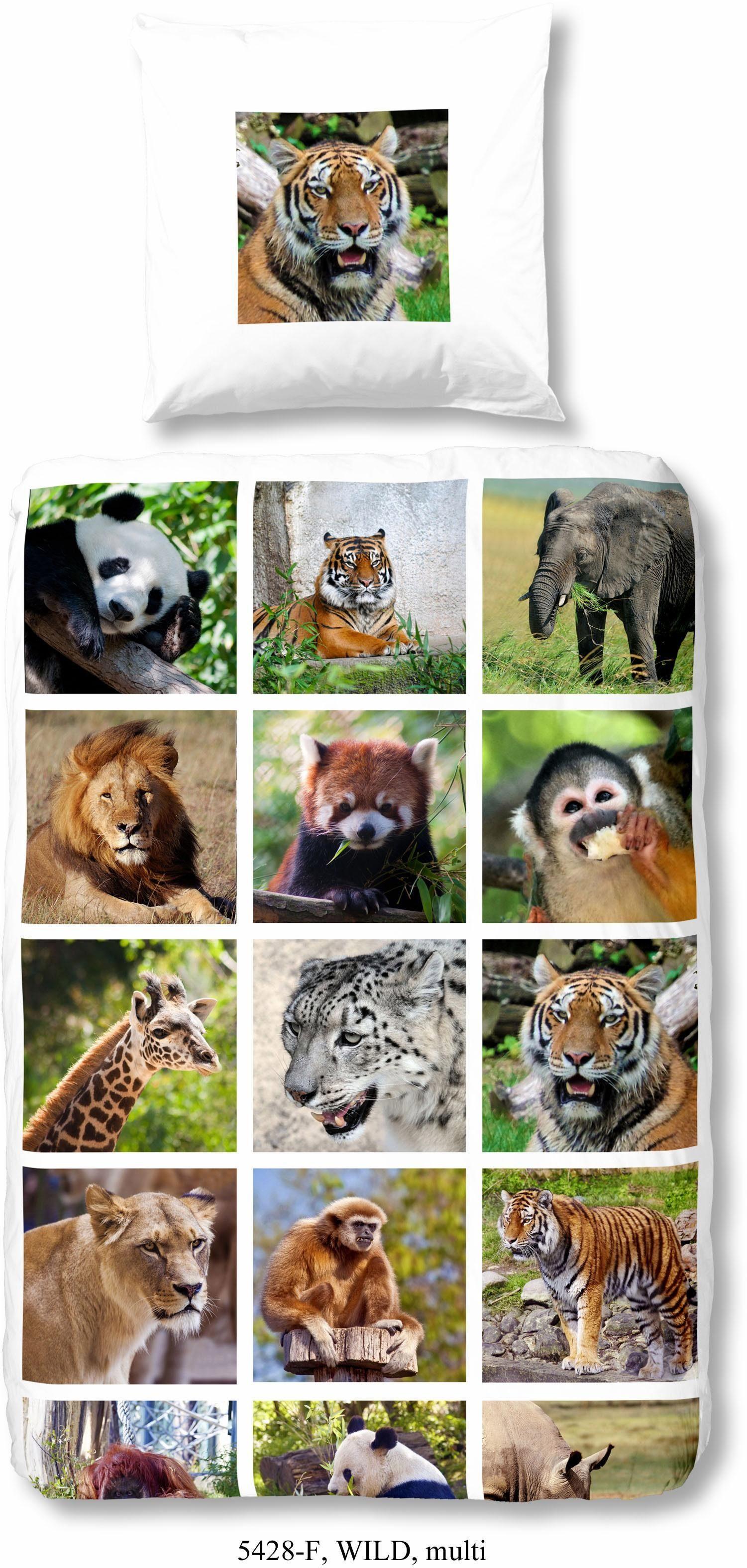 Kinderbettwäsche »Wild«, good morning, mit Tiermotiven