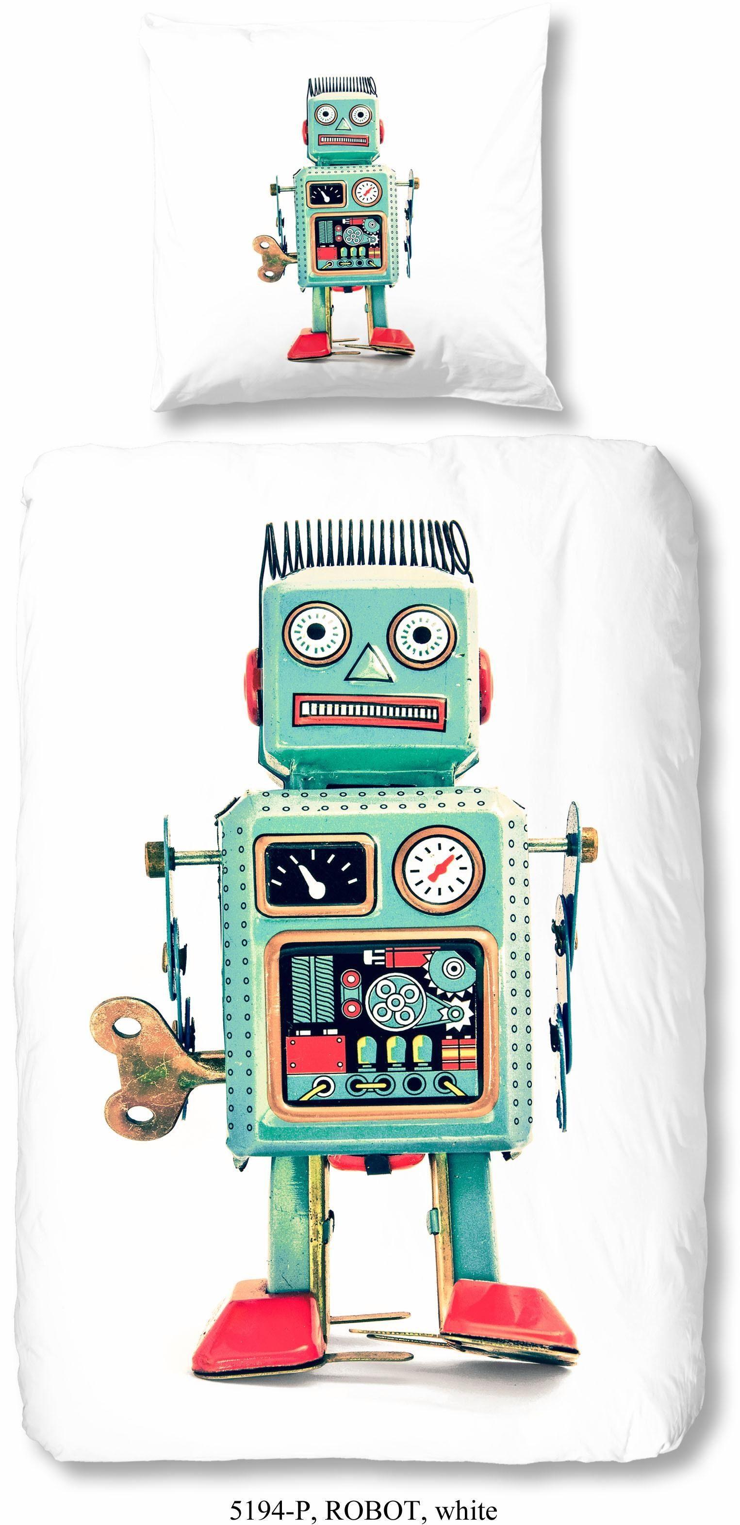 Kinderbettwäsche »Robot«, good morning, mit Robotermotiv
