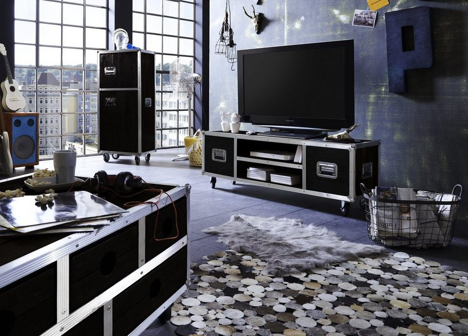 sit tv lowboard dark roadies breite 140 cm mit aluprofilen und rollen online kaufen otto. Black Bedroom Furniture Sets. Home Design Ideas