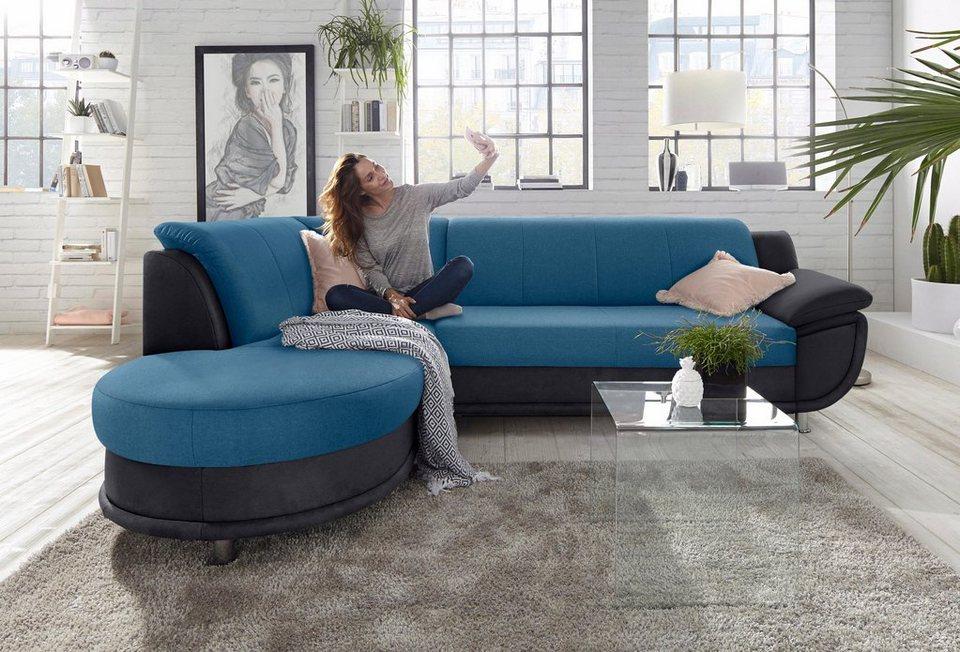 ecksofa mit ottomane und federkern wahlweise mit. Black Bedroom Furniture Sets. Home Design Ideas
