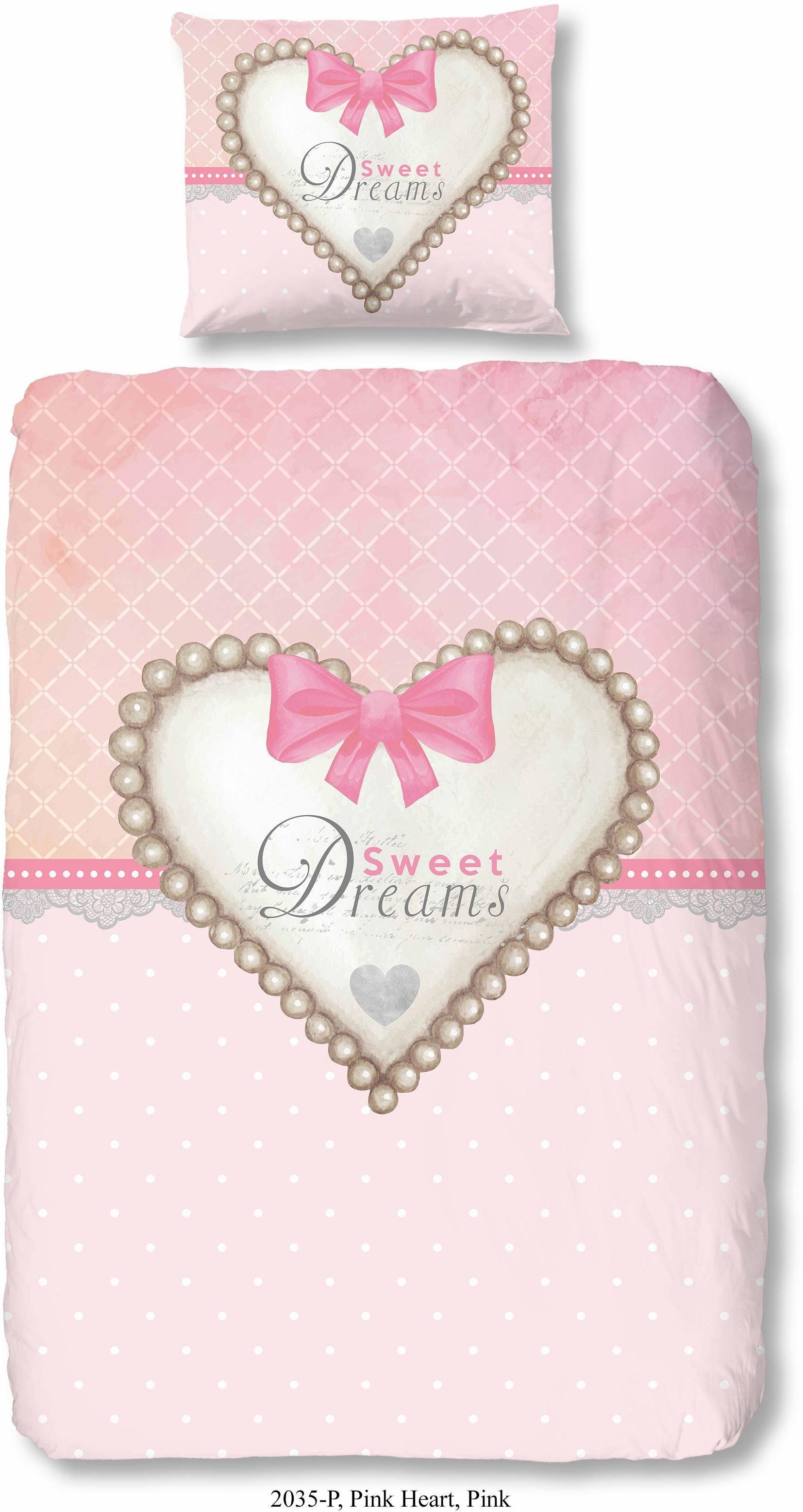 Kinderbettwäsche, Good Morning, »Pink Heart«, mit Herzmotiv