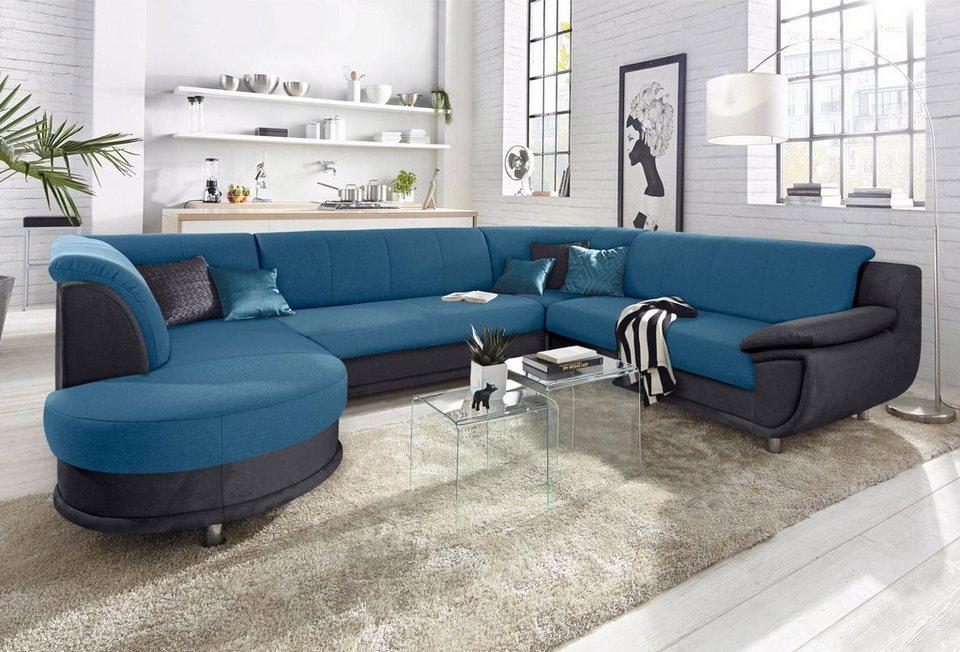 wohnlandschaft mit federkern wahlweise mit bettfunktion. Black Bedroom Furniture Sets. Home Design Ideas