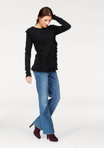 Aniston Rundhalspullover, mit Rüschen verziert