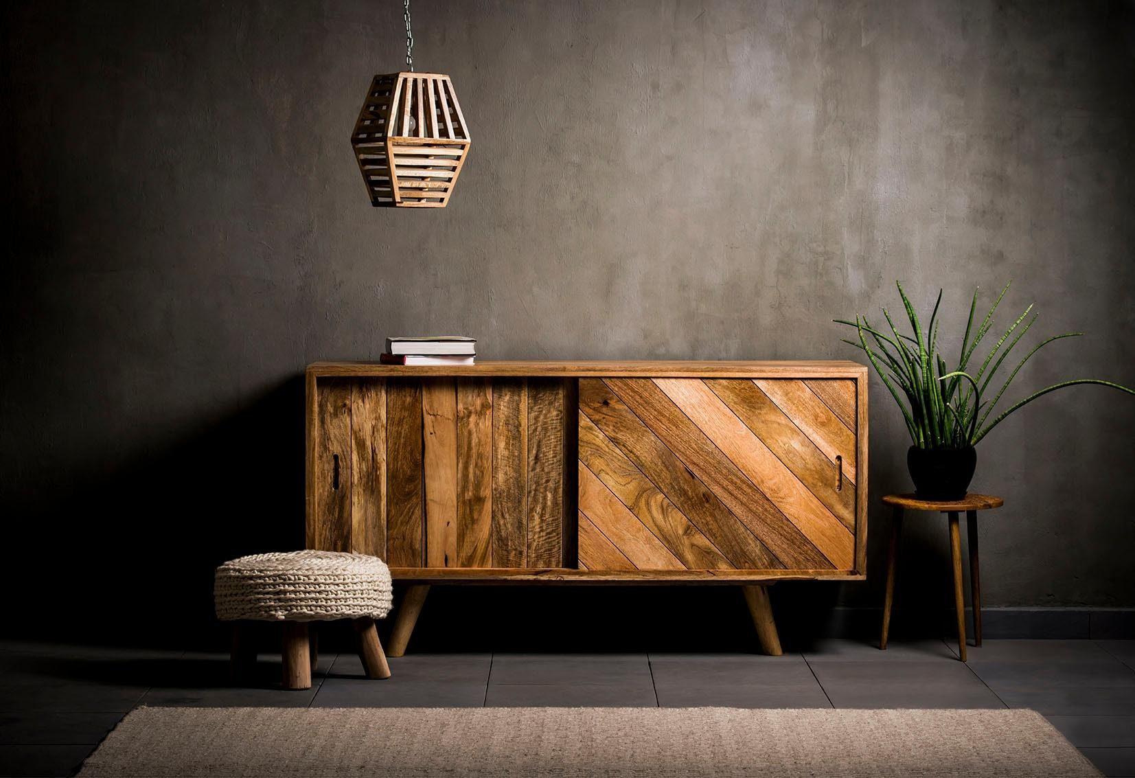 Home affaire Sideboard »Jiaya«, aus massivem Mangoholz, mit 2 Schiebetüren